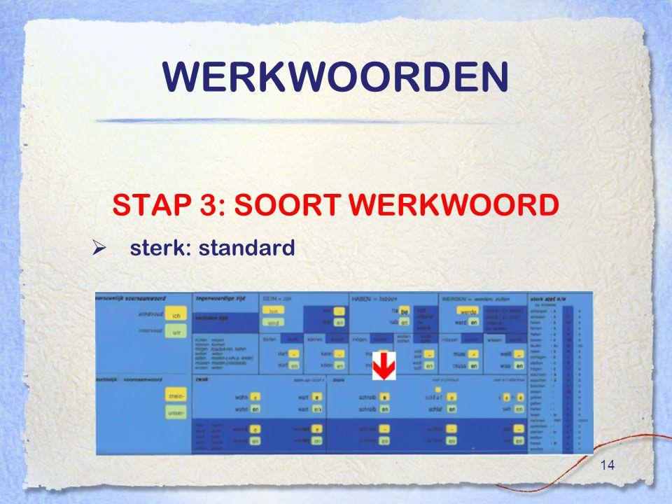 WERKWOORDEN STAP 3: SOORT WERKWOORD sterk: standard