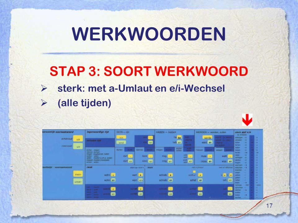 WERKWOORDEN STAP 3: SOORT WERKWOORD sterk: met a-Umlaut en e/i-Wechsel