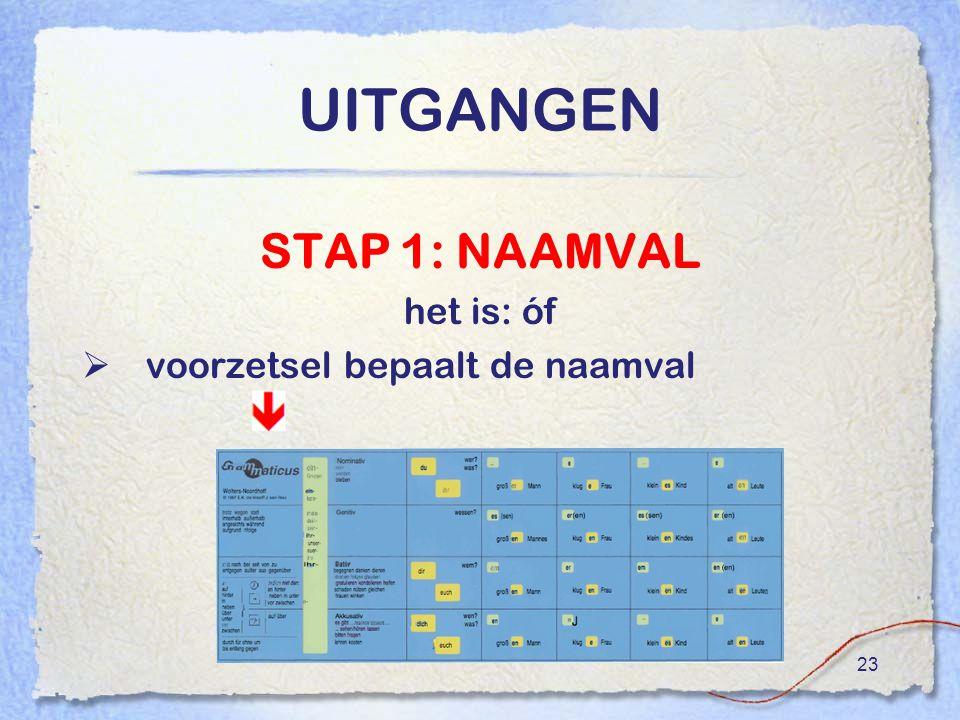 UITGANGEN STAP 1: NAAMVAL het is: óf voorzetsel bepaalt de naamval
