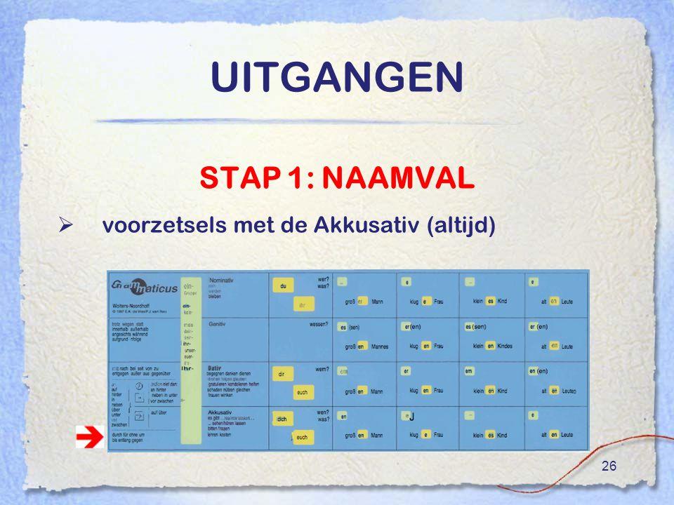 UITGANGEN STAP 1: NAAMVAL voorzetsels met de Akkusativ (altijd)