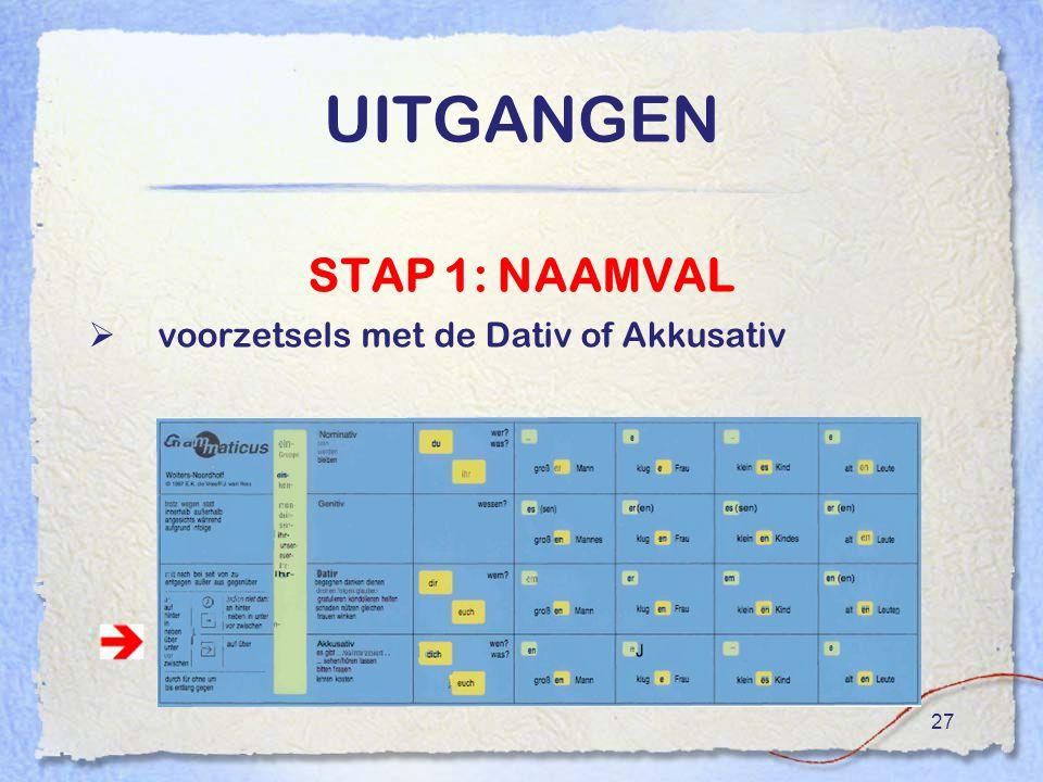 UITGANGEN STAP 1: NAAMVAL voorzetsels met de Dativ of Akkusativ