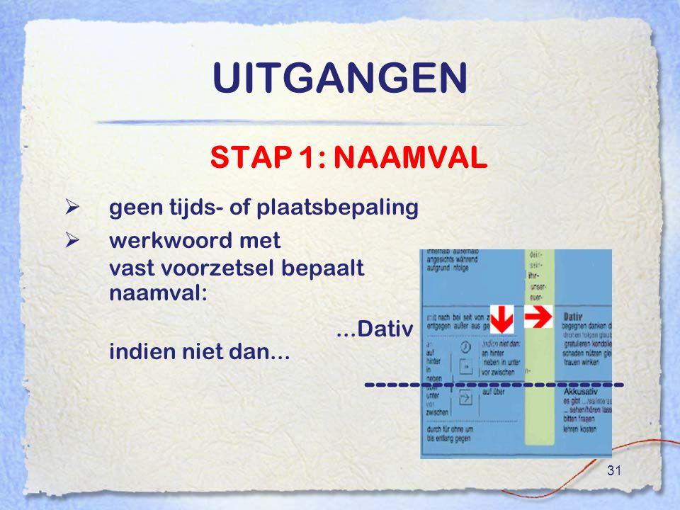 UITGANGEN ----------------------- STAP 1: NAAMVAL