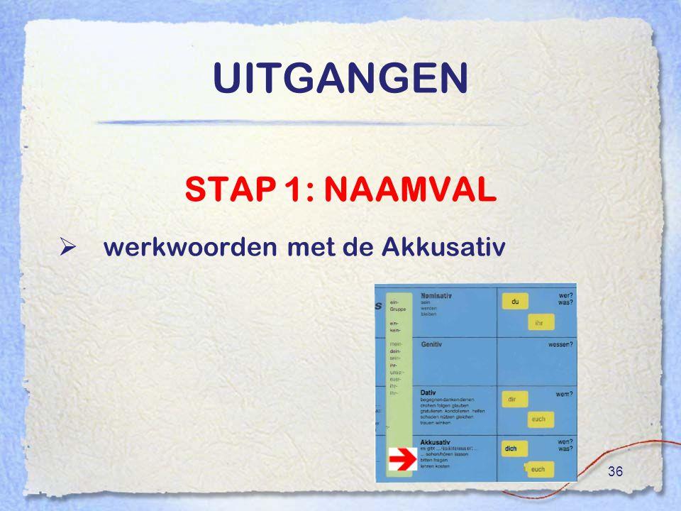 UITGANGEN STAP 1: NAAMVAL werkwoorden met de Akkusativ