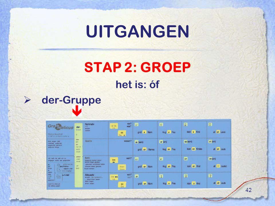UITGANGEN STAP 2: GROEP het is: óf der-Gruppe