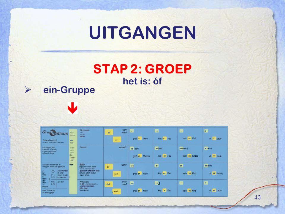 UITGANGEN STAP 2: GROEP het is: óf ein-Gruppe