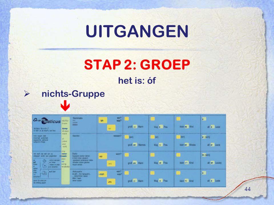 UITGANGEN STAP 2: GROEP het is: óf nichts-Gruppe