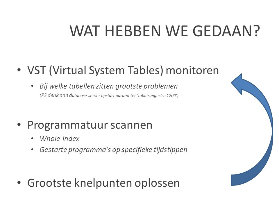 WAT HEBBEN WE GEDAAN VST (Virtual System Tables) monitoren
