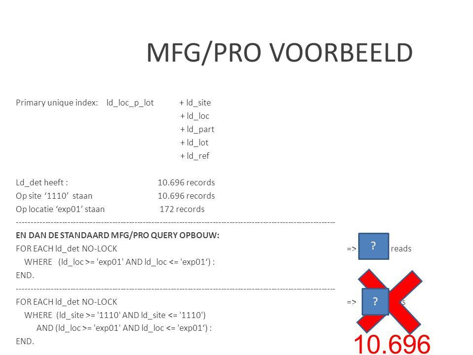 MFG/PRO VOORBEELD