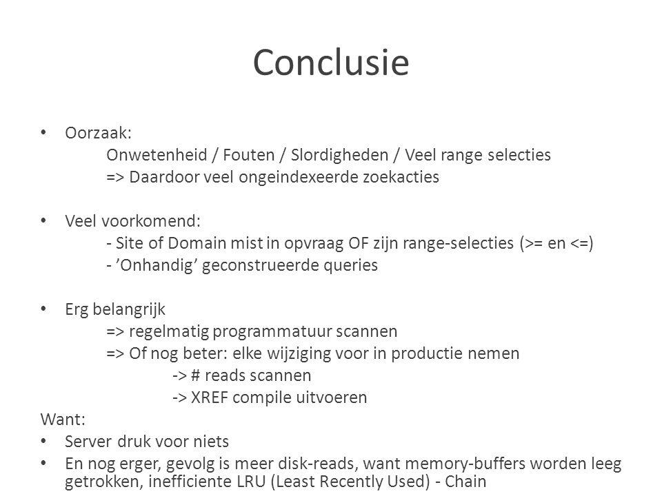 Conclusie Oorzaak: Onwetenheid / Fouten / Slordigheden / Veel range selecties. => Daardoor veel ongeindexeerde zoekacties.