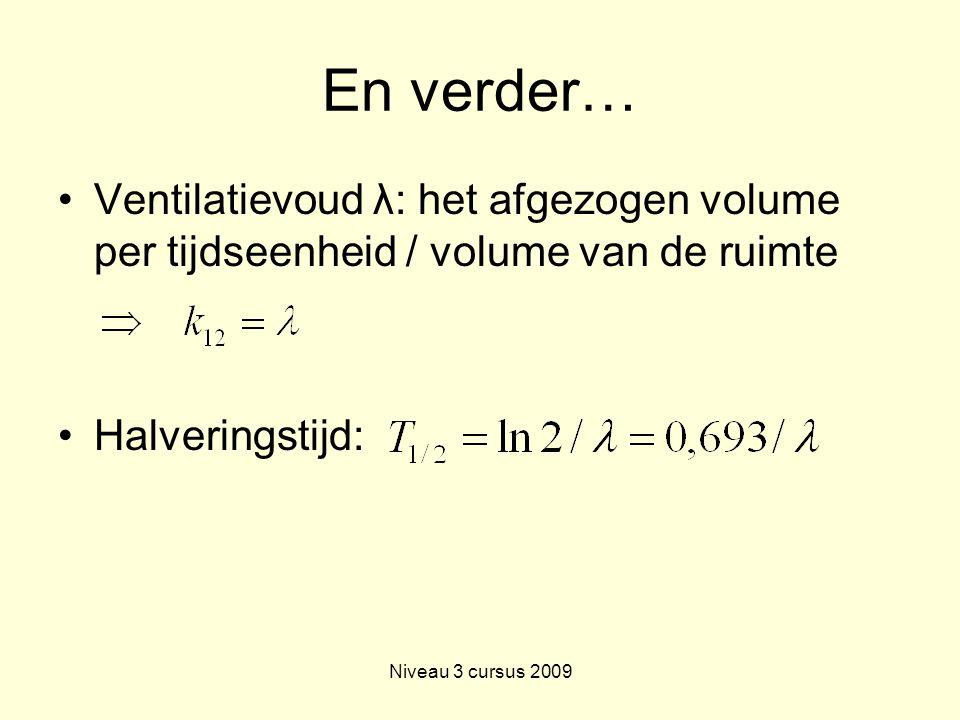 En verder… Ventilatievoud λ: het afgezogen volume per tijdseenheid / volume van de ruimte. Halveringstijd: