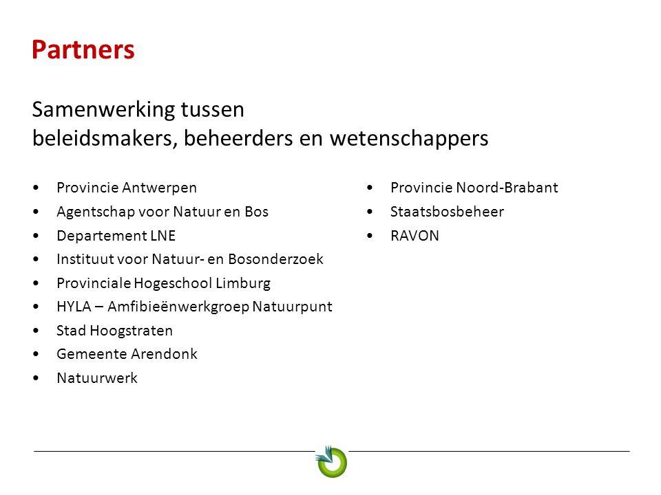 Partners Samenwerking tussen beleidsmakers, beheerders en wetenschappers. Provincie Antwerpen. Agentschap voor Natuur en Bos.