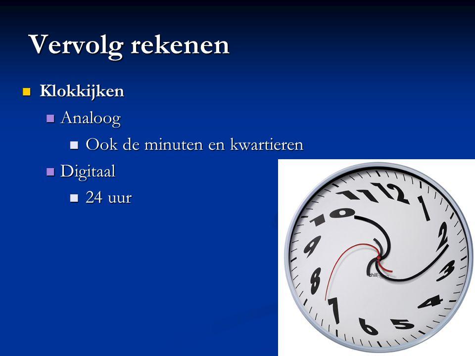 Vervolg rekenen Klokkijken Analoog Ook de minuten en kwartieren