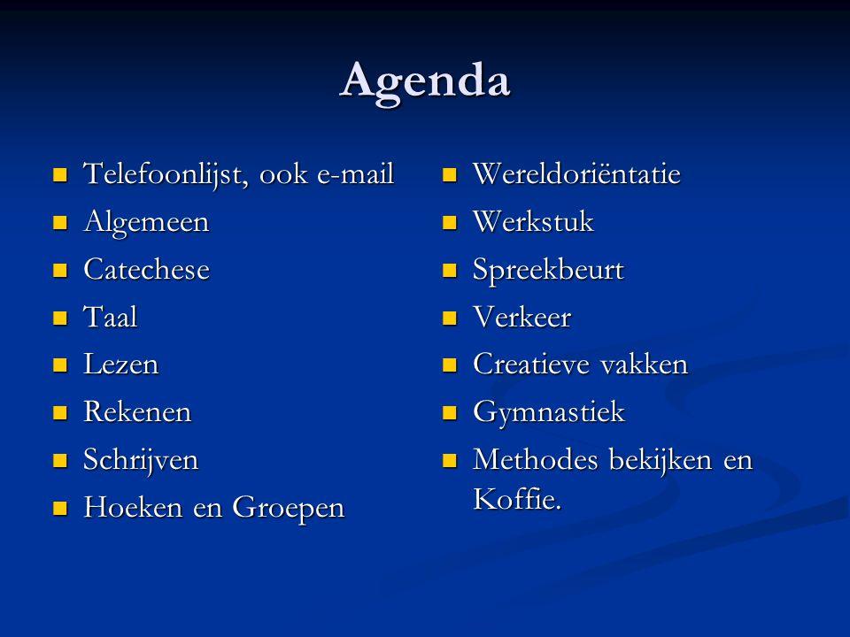 Agenda Telefoonlijst, ook e-mail Algemeen Catechese Taal Lezen Rekenen