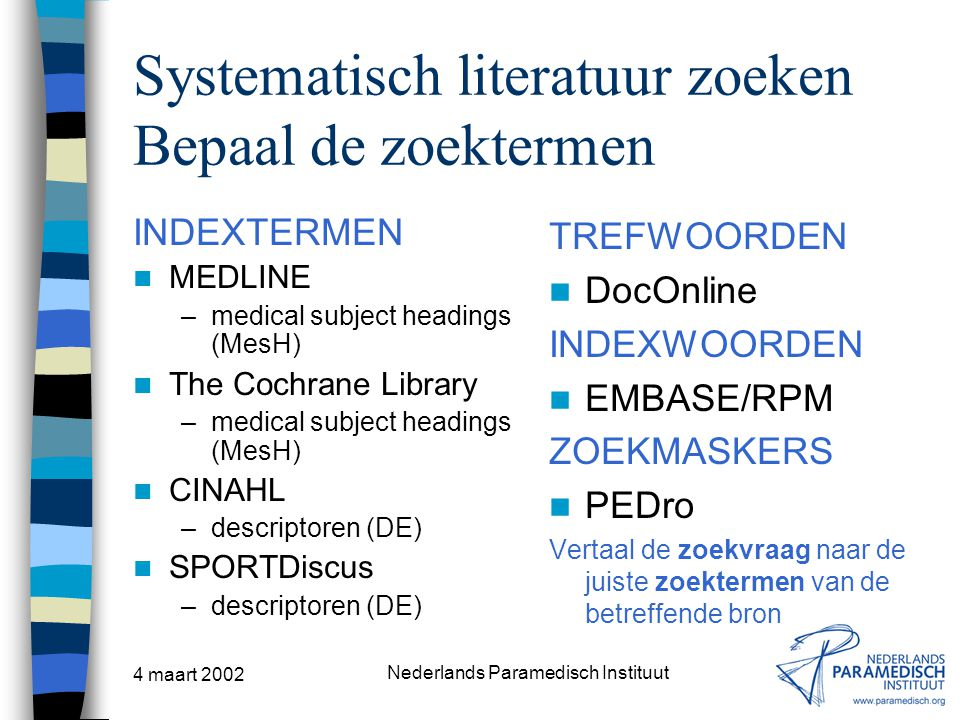 Systematisch literatuur zoeken Bepaal de zoektermen
