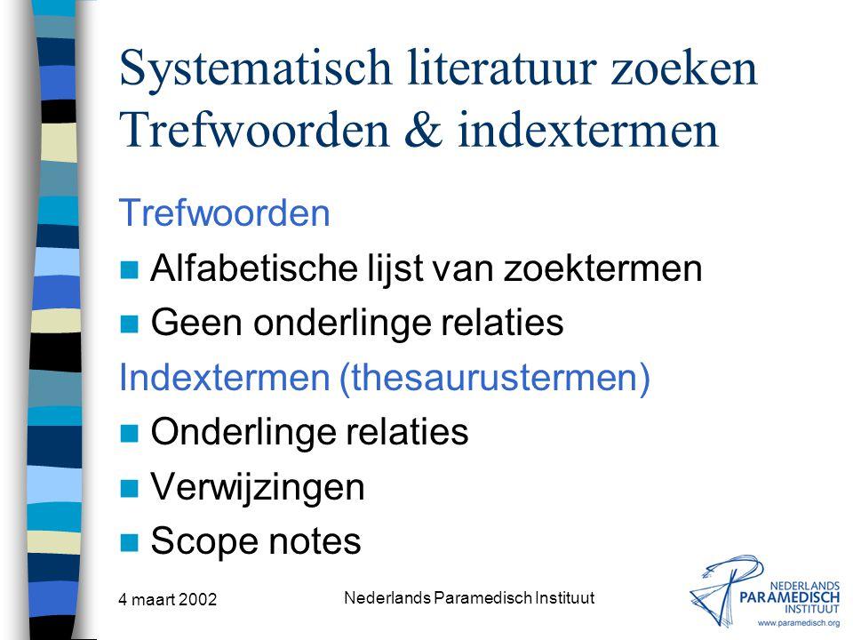 Systematisch literatuur zoeken Trefwoorden & indextermen