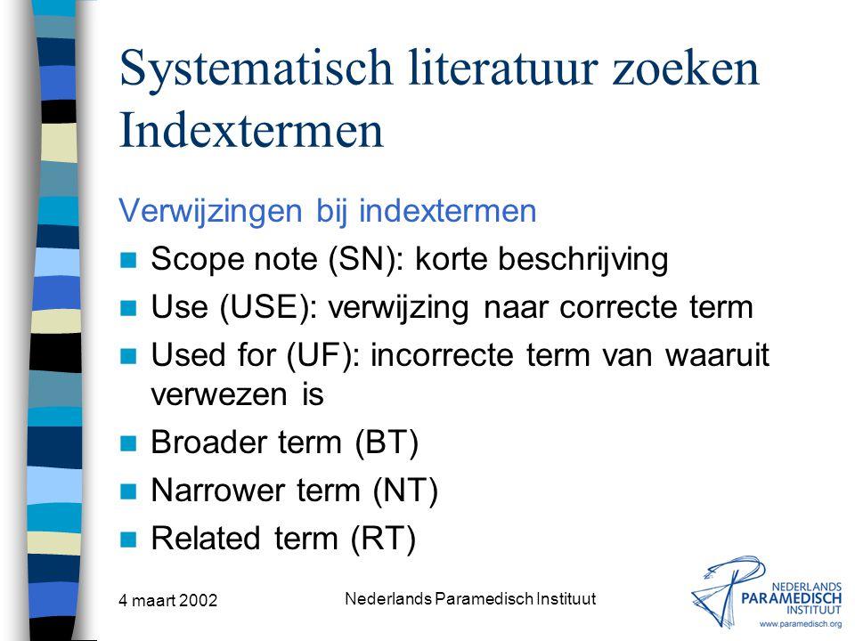 Systematisch literatuur zoeken Indextermen