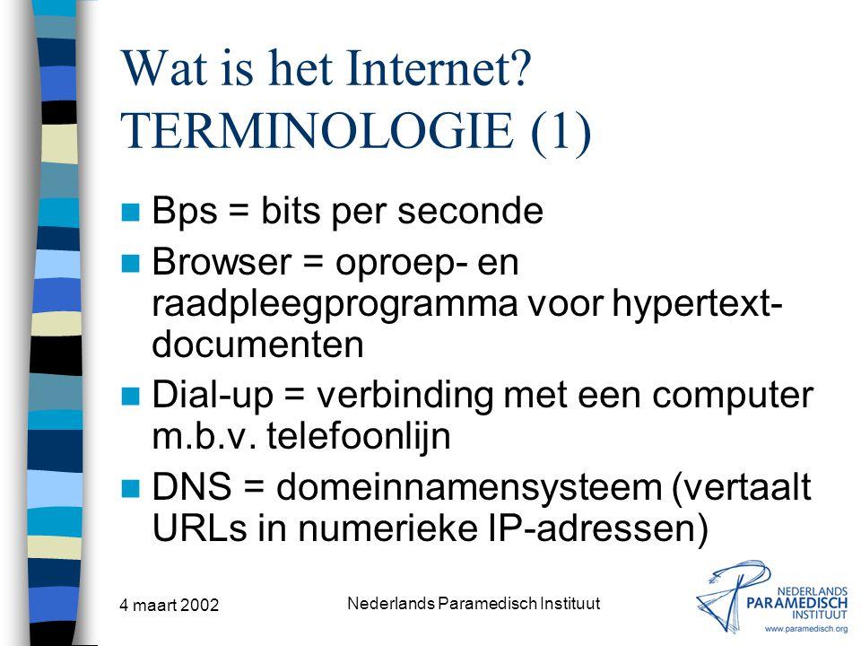 Wat is het Internet TERMINOLOGIE (1)