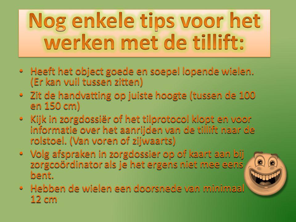 Nog enkele tips voor het werken met de tillift: