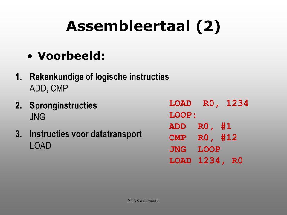 Assembleertaal (2) Voorbeeld: