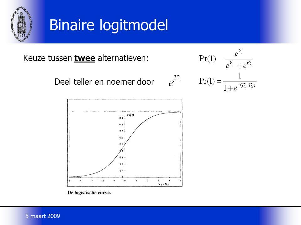 Binaire logitmodel Keuze tussen twee alternatieven: