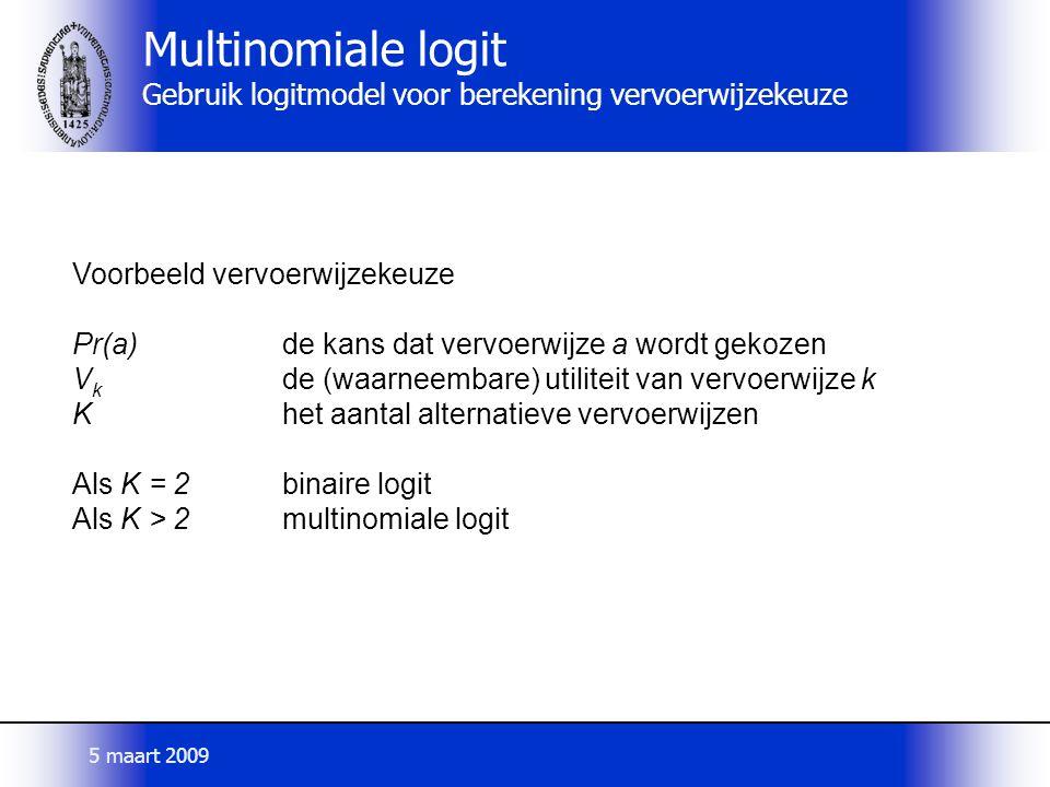 Multinomiale logit Gebruik logitmodel voor berekening vervoerwijzekeuze