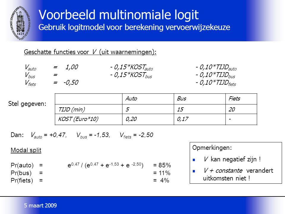 Voorbeeld multinomiale logit Gebruik logitmodel voor berekening vervoerwijzekeuze