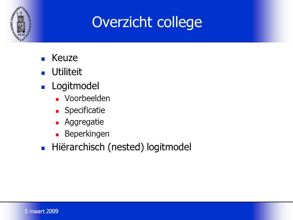 Overzicht college Keuze Utiliteit Logitmodel
