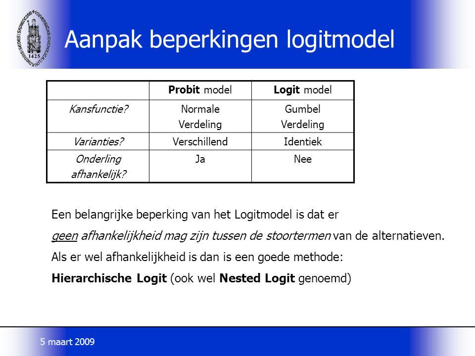 Aanpak beperkingen logitmodel