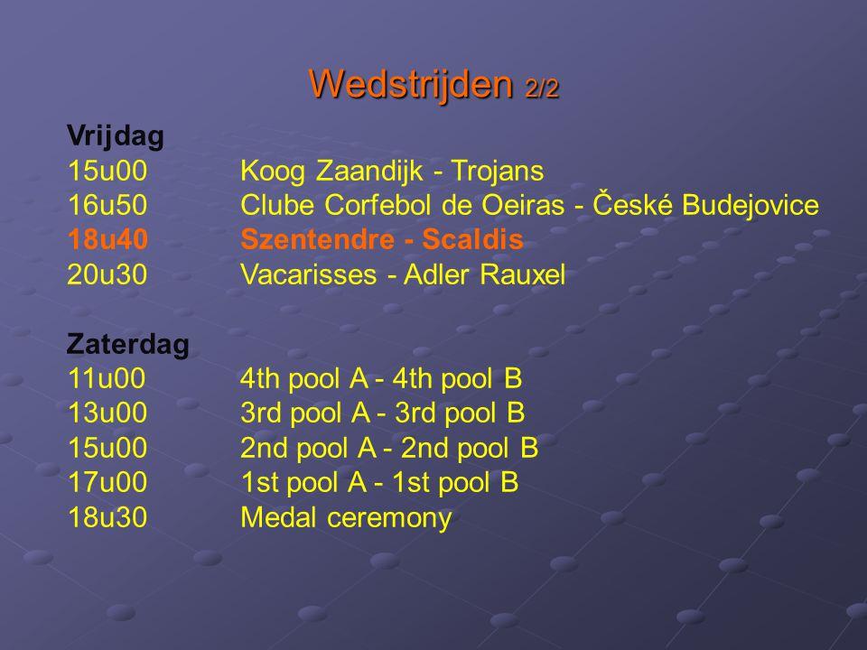 Wedstrijden 2/2 Vrijdag 15u00 Koog Zaandijk - Trojans