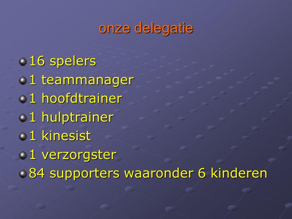 onze delegatie 16 spelers 1 teammanager 1 hoofdtrainer 1 hulptrainer