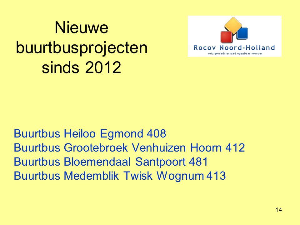 Nieuwe buurtbusprojecten sinds 2012