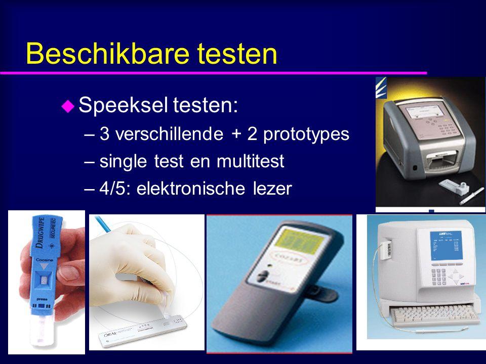 Beschikbare testen Speeksel testen: 3 verschillende + 2 prototypes