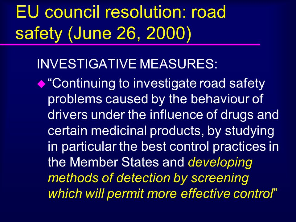 EU council resolution: road safety (June 26, 2000)