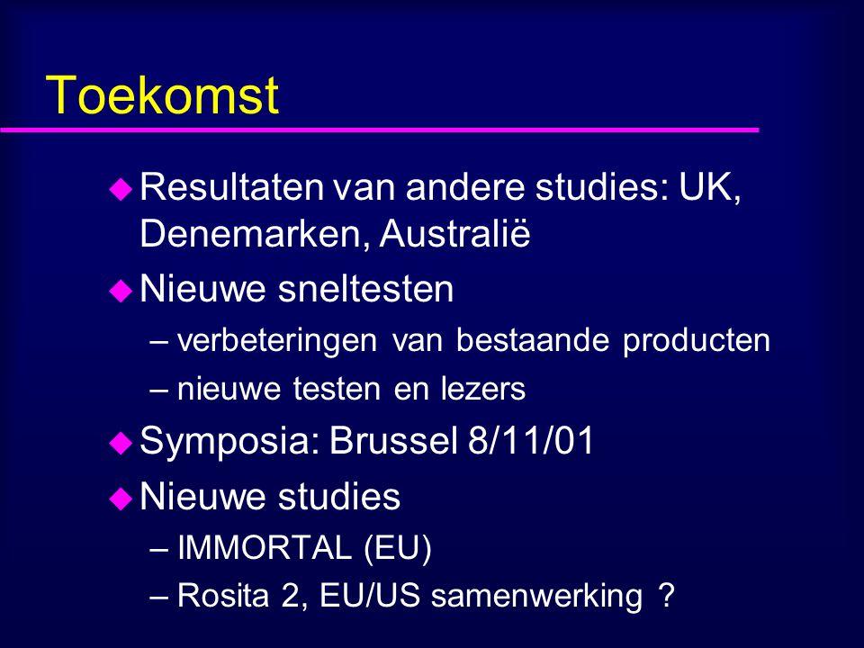 Toekomst Resultaten van andere studies: UK, Denemarken, Australië