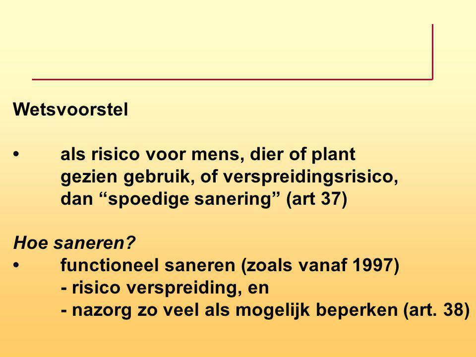 Wetsvoorstel • als risico voor mens, dier of plant