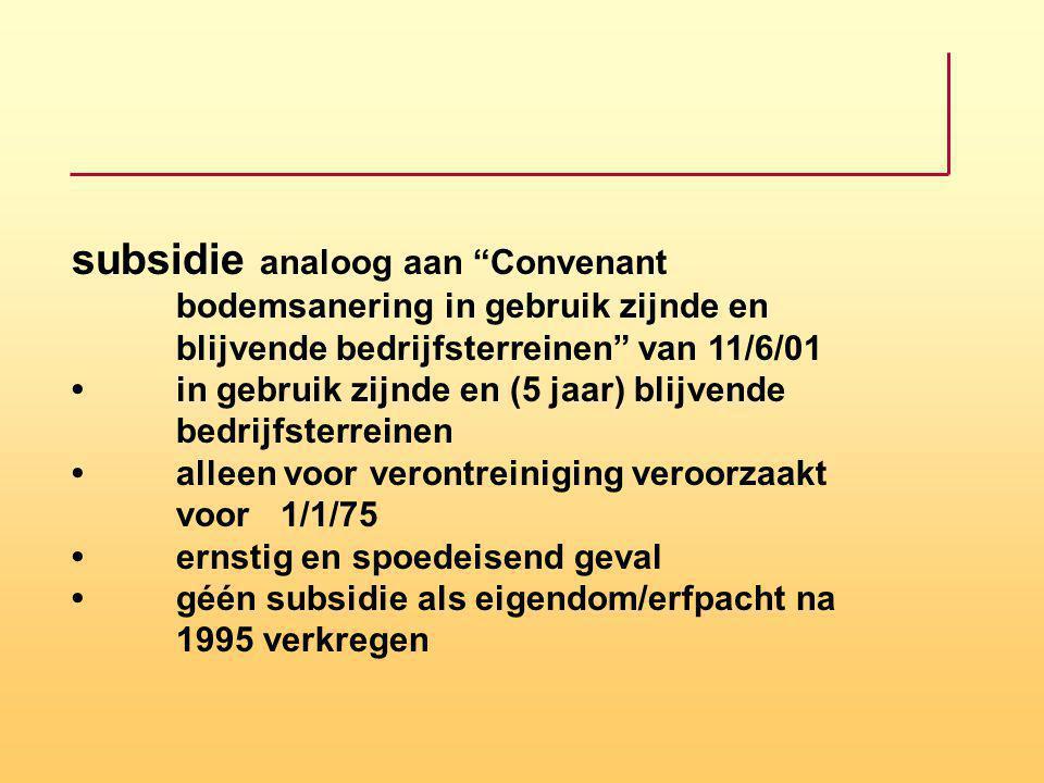 subsidie analoog aan Convenant. bodemsanering in gebruik zijnde en