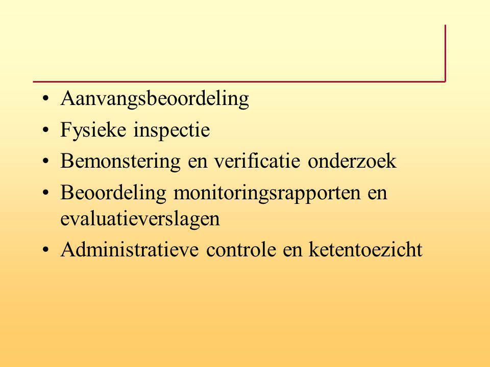 Aanvangsbeoordeling Fysieke inspectie. Bemonstering en verificatie onderzoek. Beoordeling monitoringsrapporten en evaluatieverslagen.