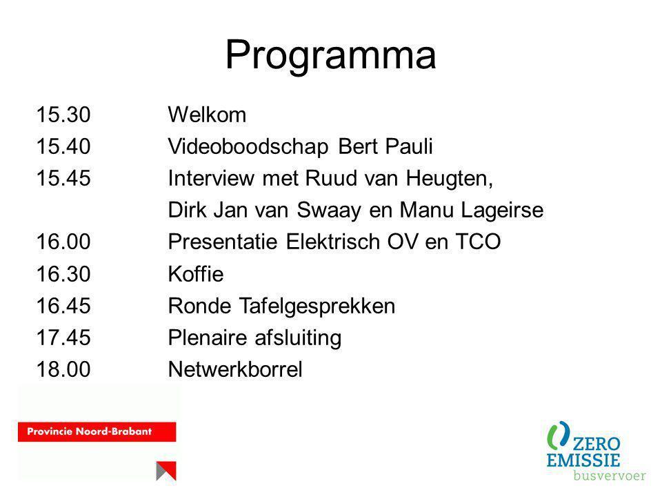 Programma 15.30 Welkom 15.40 Videoboodschap Bert Pauli