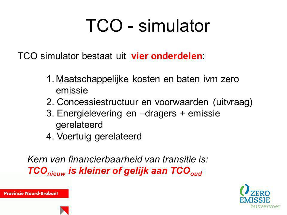 TCO - simulator TCO simulator bestaat uit vier onderdelen: