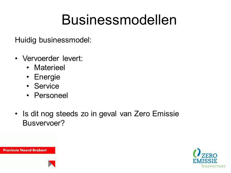 Businessmodellen Huidig businessmodel: Vervoerder levert: Materieel