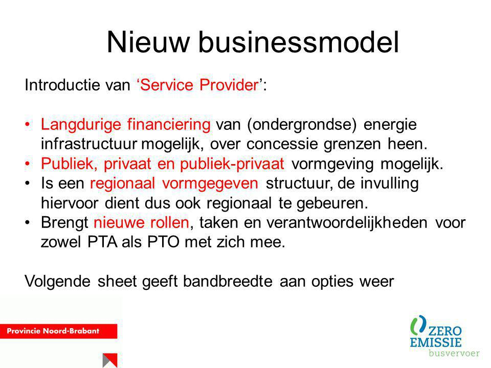 Nieuw businessmodel Introductie van 'Service Provider':