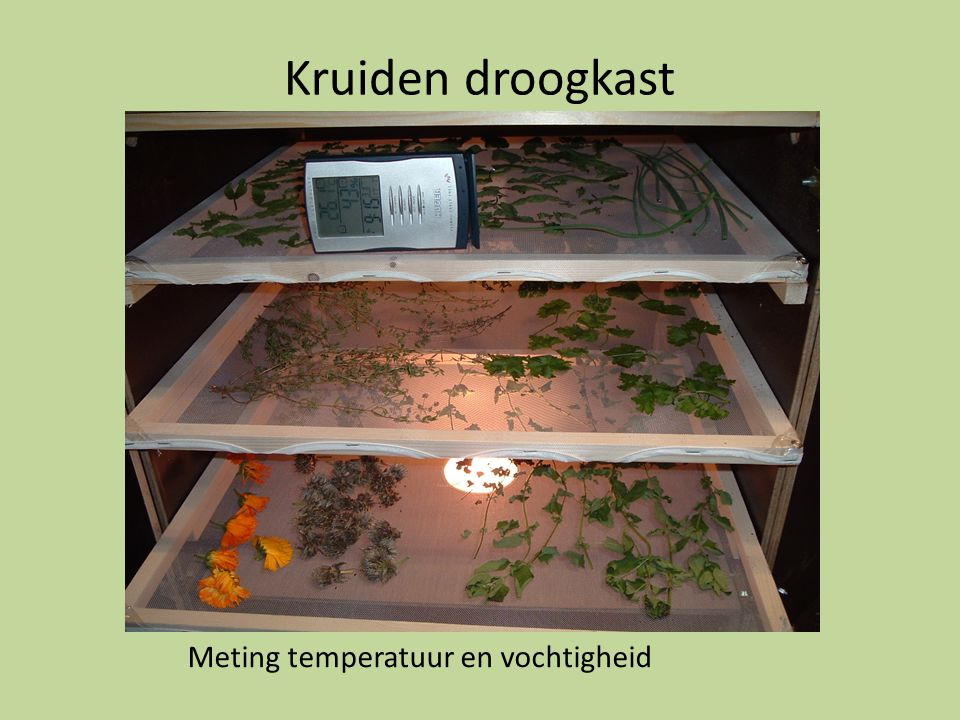 Kruiden droogkast Meting temperatuur en vochtigheid