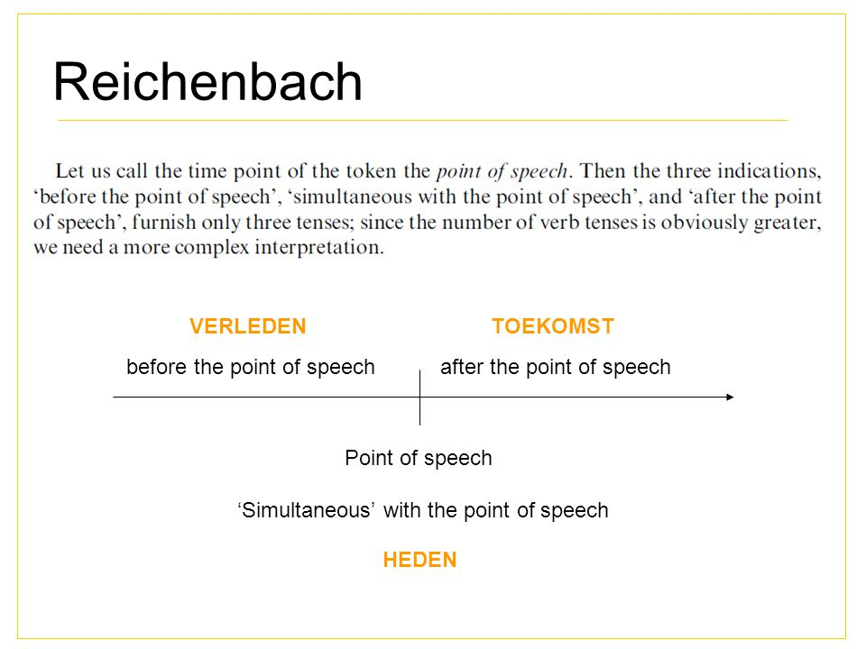 Reichenbach VERLEDEN TOEKOMST before the point of speech