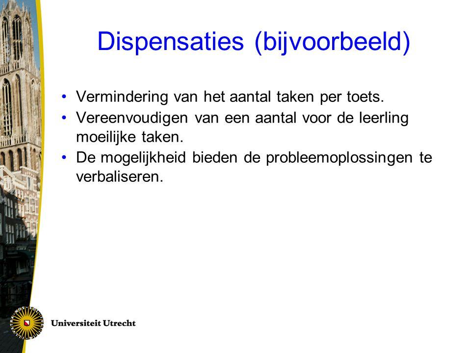 Dispensaties (bijvoorbeeld)
