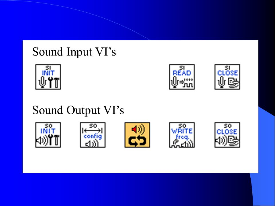 Sound Input VI's Sound Output VI's