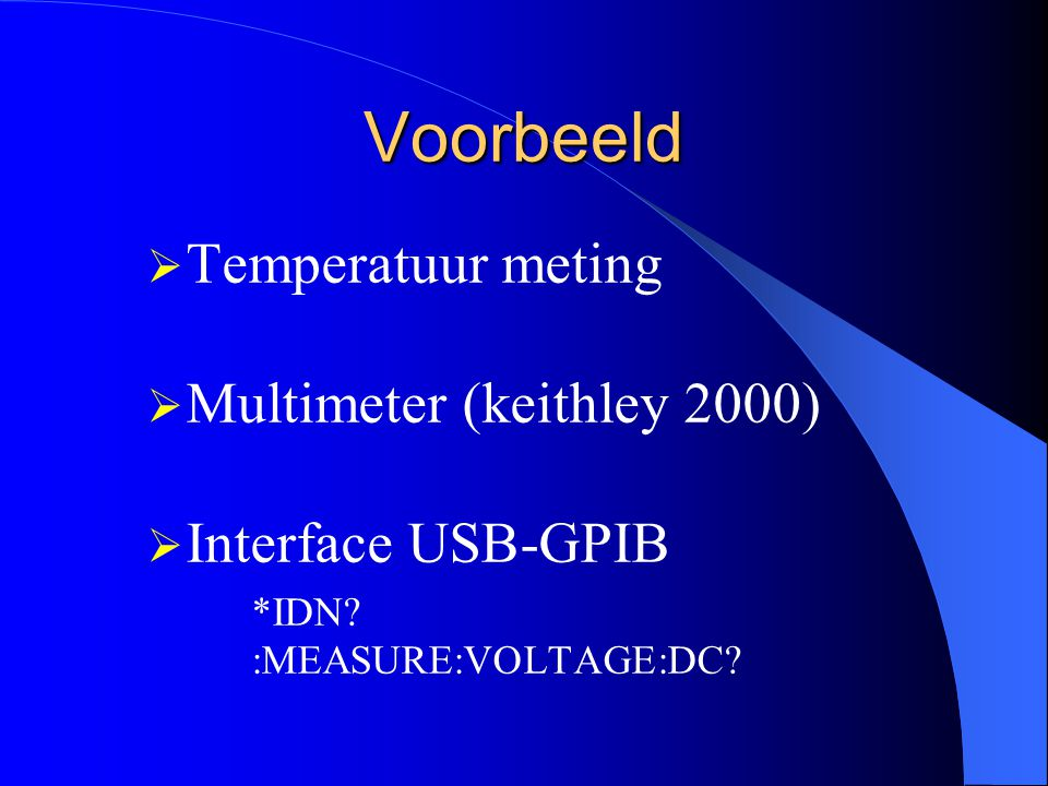 Voorbeeld Temperatuur meting Multimeter (keithley 2000)