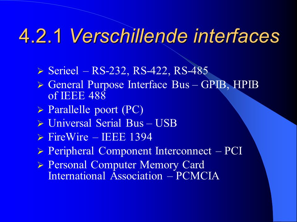 4.2.1 Verschillende interfaces