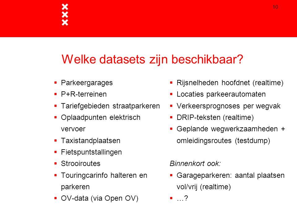 Welke datasets zijn beschikbaar