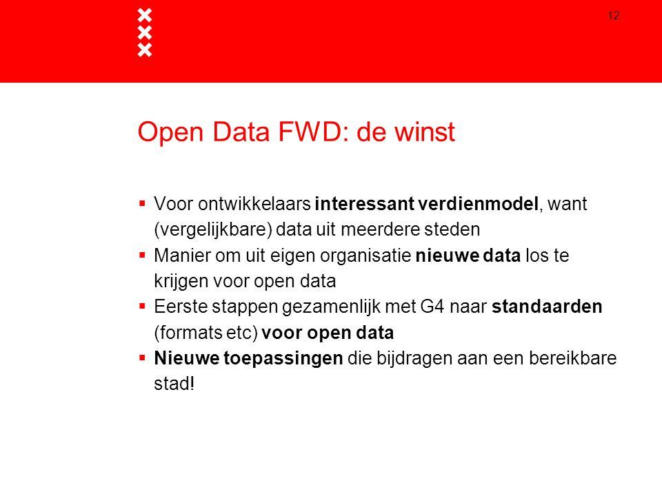 Open Data FWD: de winst Voor ontwikkelaars interessant verdienmodel, want (vergelijkbare) data uit meerdere steden.