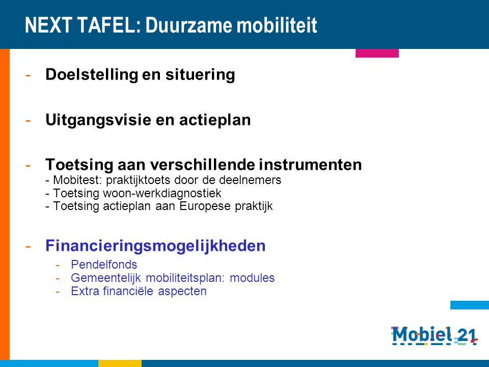 NEXT TAFEL: Duurzame mobiliteit